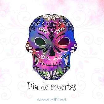 Концепция dia de muertos с акварельным фоном