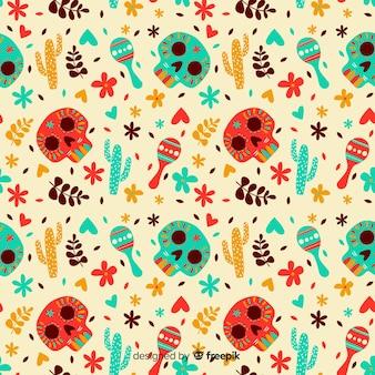手描きのdia de muertosパターン