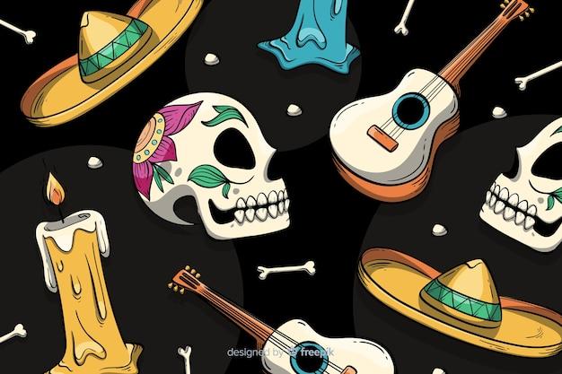 カラフルな手描きdia de muertos背景