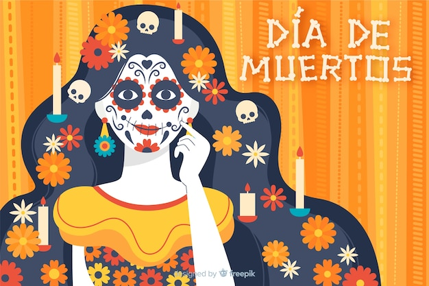 Dia de muertos фон в плоском дизайне