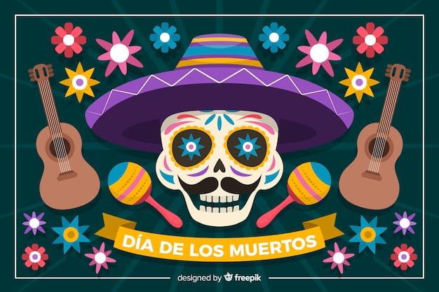 Красочный фон dia de muertos в плоском дизайне