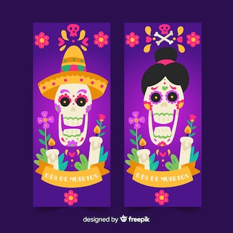 Dia de muertos баннеры в плоском дизайне