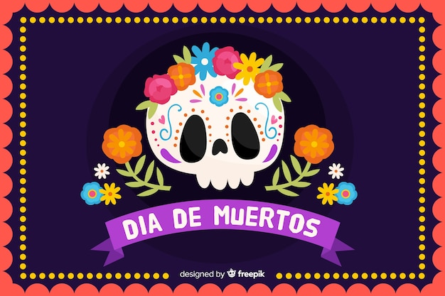 Концепция dia de muertos с рисованной фон