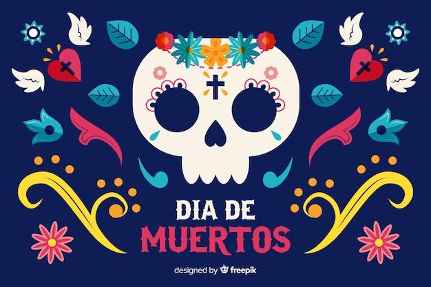 Día de muertos концепция с плоским фоном дизайна