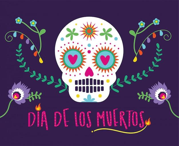 Открытка dia de muertos с надписью и черепом