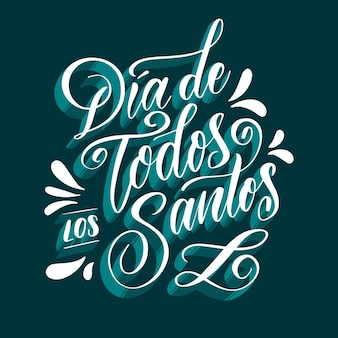 Dia de todos los santos lettering with blue shadows