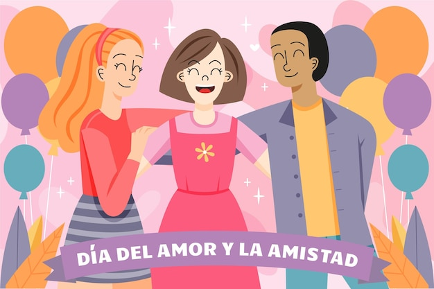 Dia del amor y amistad with three people