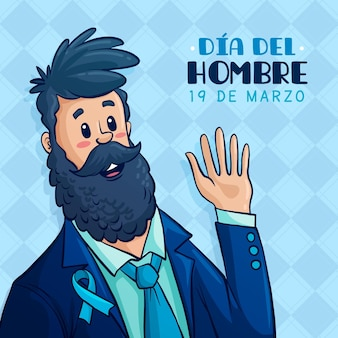 Dia del hombre illustration with bearded man waving