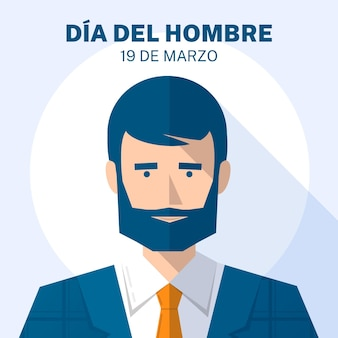 Dia del hombre illustration with man with beard