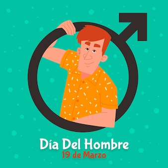 Dia del hombre illustration with man