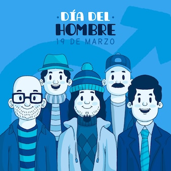 Dia del hombre illustration with men