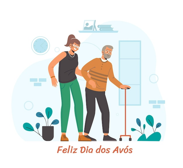 Dia dos avos celebration illustration