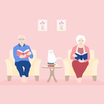 Dia dos avós concept. бабушки и дедушки читают книги в гостиной с белым котом.