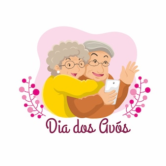 Dia dos avos flat illustration grandparent day. doing wefie