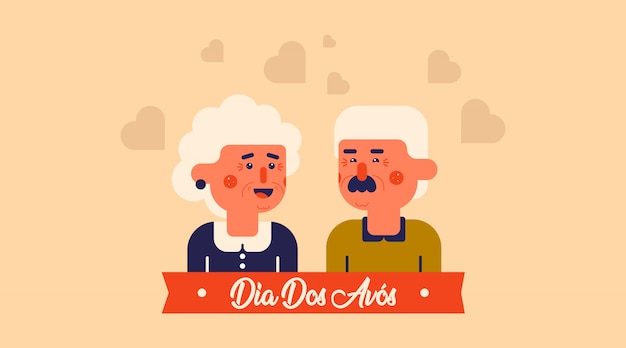 Dia dos avós illustration vector. flat illustration of happy grandparents' day