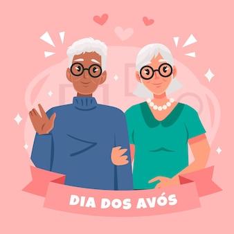 Dia dos avos illustrazione con i nonni