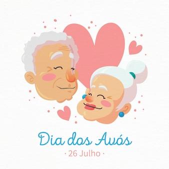 Dia dos avós с пожилой парой