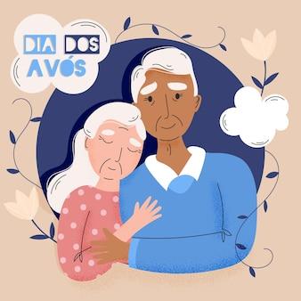 Dia dos avós иллюстрированная концепция