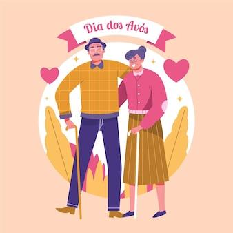 Рисованной dia dos avós иллюстрация с бабушкой и дедушкой