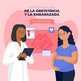 Dia internacional de la obstetricia y la embarazada иллюстрация
