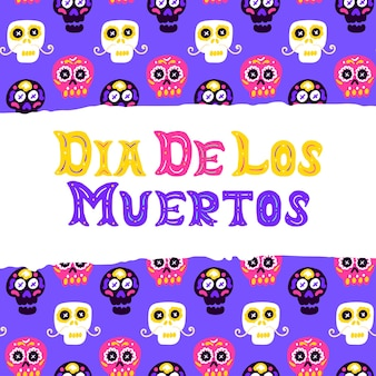 Дизайн открытки dia los muertos. векторная иллюстрация поздравительной открытки с буквами.