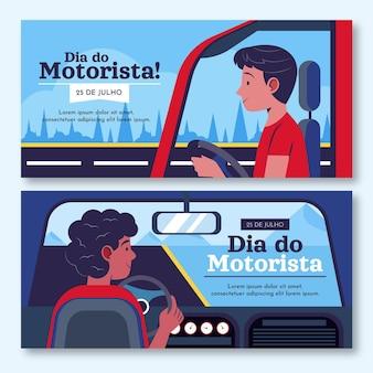 Dia do motorista banners set