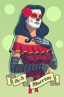 Diaデロスムエルトスカトリーナドレスの女性