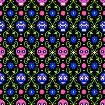 カラフルな頭蓋骨と暗い背景の上に花の死んだシームレスパターンの日。 diaデロスムエルトスの休日のパーティーのための伝統的なメキシコのハロウィーンデザイン。メキシコからの飾り。
