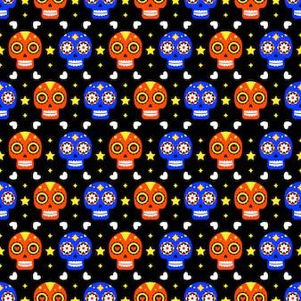 暗い背景にカラフルな頭蓋骨と死んだシームレスパターンの日。 diaデロスムエルトスの休日のパーティーのための伝統的なメキシコのハロウィーンデザイン。メキシコからの飾り。
