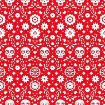 頭蓋骨と赤の背景に花と死んだシームレスパターンの日。 diaデロスムエルトスの休日のパーティーのための伝統的なメキシコのハロウィーンデザイン。メキシコからの飾り。