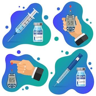 당뇨병 배너입니다. 혈당 측정기와 혈액 방울이 있는 손가락. 당뇨병 진단을 위한 혈당계. 인슐린 펜 주사기 및 바이알. 당뇨병 세계의 날. 평면 스타일 아이콘 격리 된 벡터 일러스트 레이 션