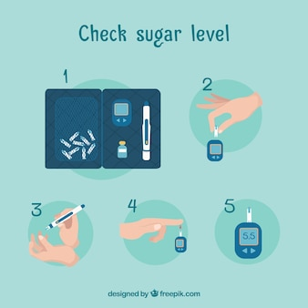 Diabetes blood test with flat design