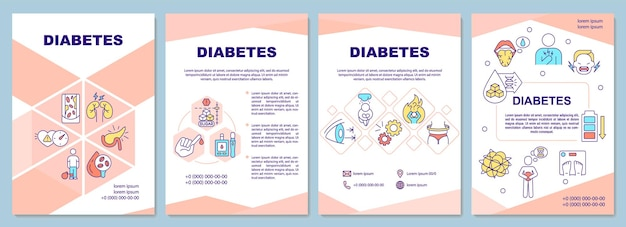 Шаблон брошюры диабета. специальная диета для больных. флаер, буклет, печать листовок, дизайн обложки с линейными иконками.