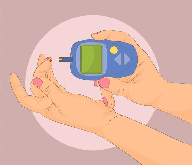 Диабет, проверяющий уровень сахара в крови