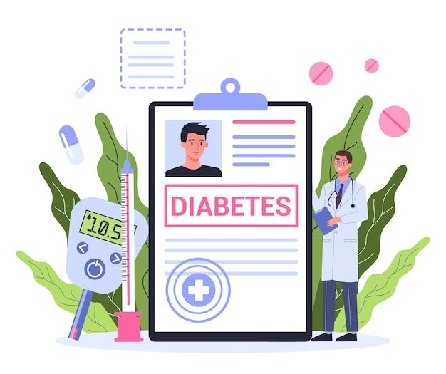 Концепция диабета. измерение сахара в крови глюкометром. врач с диагнозом. идея здравоохранения и лечения.