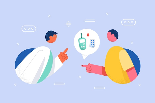 평면 디자인으로 환자에게 조언을 제공하는 의사와 당뇨병 개념