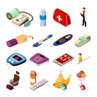 Diabetes control isometric icons