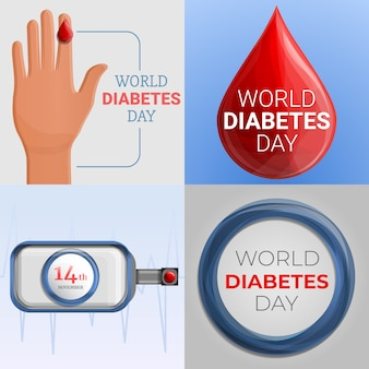 Diabetes day banner set, cartoon style