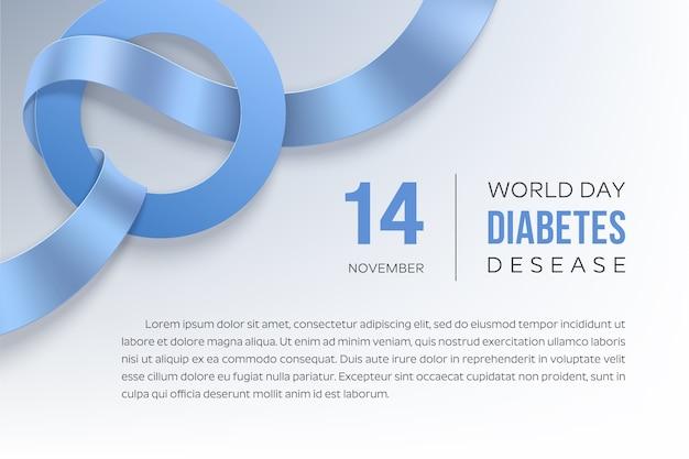 11月の糖尿病デー。青いリボンと円-糖尿病のシンボル