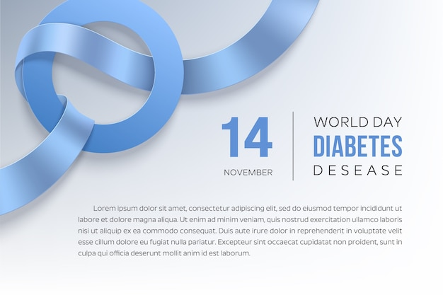 Diabetes day november. blue ribbon and circle - symbol of diabete