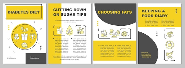 Diabetes diet brochure template. choosing products with fats. flyer, booklet, leaflet print, cover design with linear icons. vector layouts for presentation, annual reports, advertisement pages