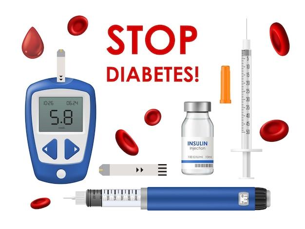 테스트 스트립, 혈액 헤모글로빈 세포 또는 드롭이 있는 당뇨병 질환, 글루코미터, 인슐린 및 주사기. 혈액 및 질병 치료 격리 세트에서 혈당 측정을 위한 당뇨병 의학 장비 중지