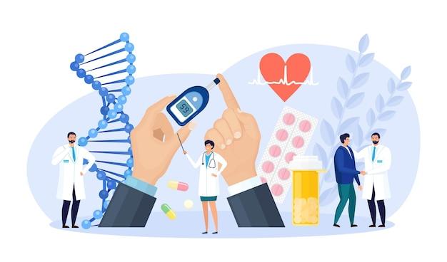 당뇨병. 저혈당 또는 고혈당 진단을 위해 혈당계를 사용하여 혈당을 검사하는 의사. 실험실 장비, 알약. 설탕 수준을 측정하는 의사. 세계 당뇨병 인식의 날