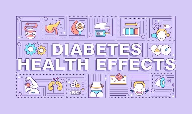 당뇨병 건강 효과 단어 개념 배너입니다. 질병 증상.