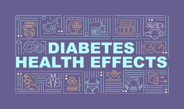 Diabetes health effects word concepts banner. illness results. infographics with linear icons on purple background. isolated creative typography. vector outline color illustration with text