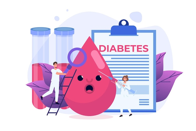 Diabetes, high sugar level in blood persons concept. vector illustration.