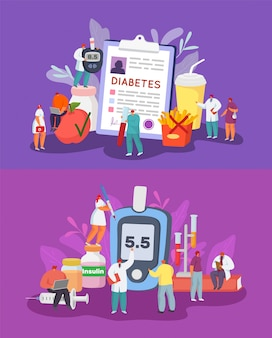 Diabetes illustration set, diagnosis, blood sugar check and control, diet.