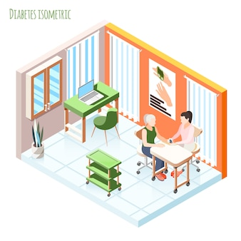 Diabetes isometric composition with patient and doctor showing meter measures blood sugar level vector illustration