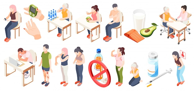 Diabetes isometric icon set with symptoms diet testing blood glucose and restrictions descriptions vector illustration