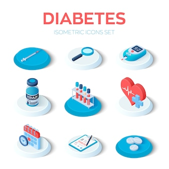 Diabetes isometric icons set